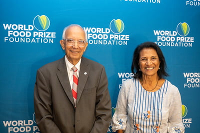 Shakuntala Thilsted (right) with 2020 World Food Prize Laureate Rattan Lal (left) in Des Moines, Iowa. Photo by Finn Thilsted.